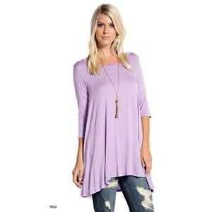 Lavender Purple Half Sleeve Drape Blouse Tent Top